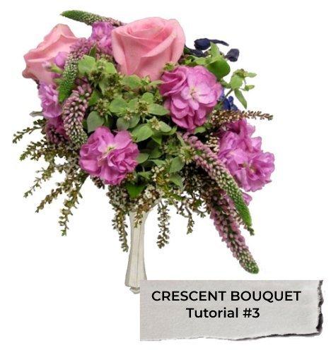 Crescent wedding bouquet flowers easy diy bouquets for Crescent bouquet