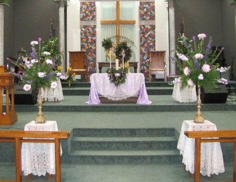 Church wedding decoration ideas diy florals for wedding ceremonies this is a simple tutorial for the two large sprays standing on each side of the altar rail i bought these pillar candle stands on clearance at a large junglespirit Gallery