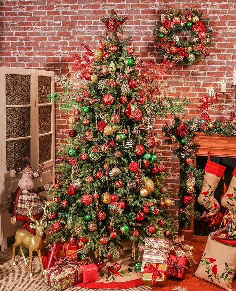 Red Green And Gold Christmas Tree Luxurious Ornaments For Trees