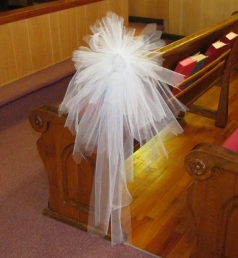 Stairway Decorated With White Tulle And Red Silk Roses: DIY Wedding Church Decorations And Pew